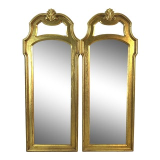 Hollywood Regency Style Gold Framed Drexel Mirrors, Pair For Sale
