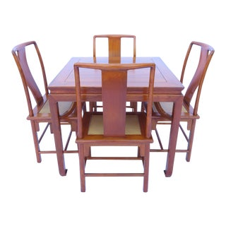 Antique Chinese Hardwood Game Table and 4 Chairs Dynasty Furniture Wm. Drummond For Sale