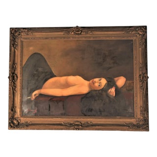 Woman Nude Smoking Cigarette Oil Painting on Canvas, Framed For Sale