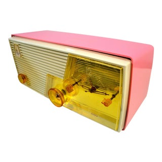 1958 Vintage Cameo Pink Mid Century Emerson Tube Am Clock Radio For Sale