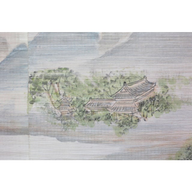 Large Painting of Asian Ladies in a Pagoda and Lake Scene For Sale - Image 4 of 13