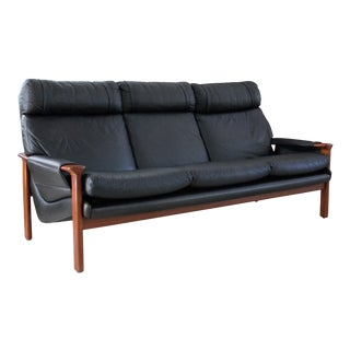 1970s Vintage Fred Lowen for Tessa Black Leather Sofa For Sale
