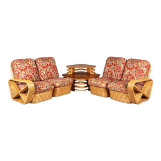 Paul Frankl Rattan Living Room Sectional Seating Set For Sale