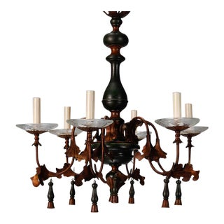 Italian Wood And Gilt Metal Six Arm Chandelier For Sale