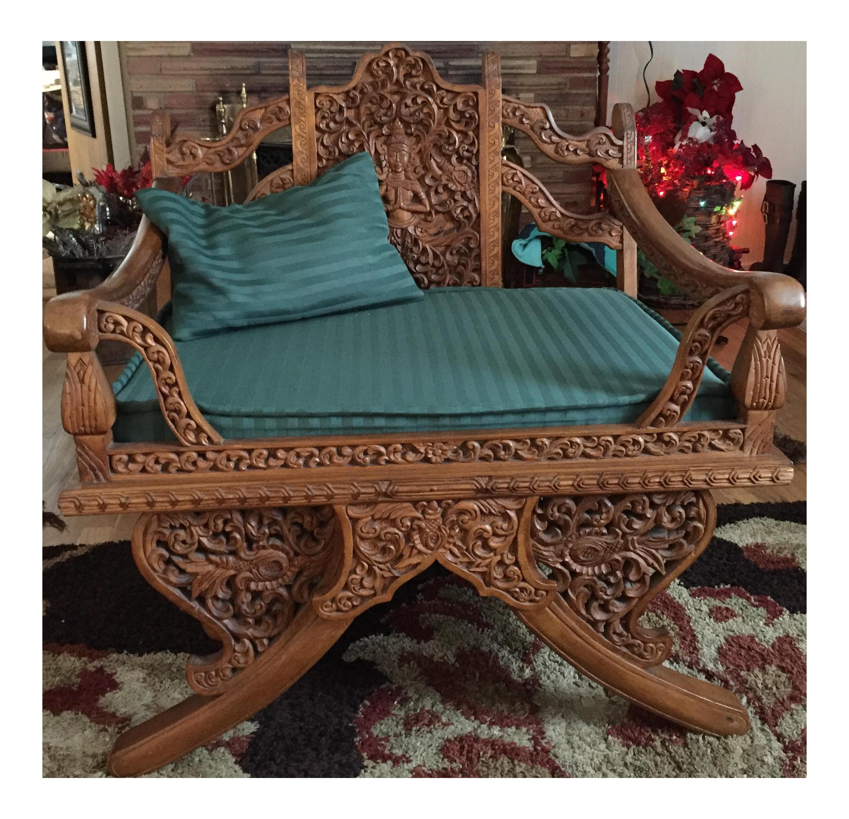 Incroyable Antique Thai Hand Carved Teak Buddha Howdah Elephant Saddle Chair