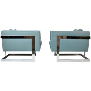 Milo Baughman Large Cube Lounge Chairs For Sale