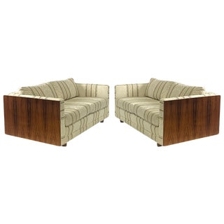 Pair of Floating Milo Baughman Cased Rosewood Tuxedo Sofas / Settees For Sale