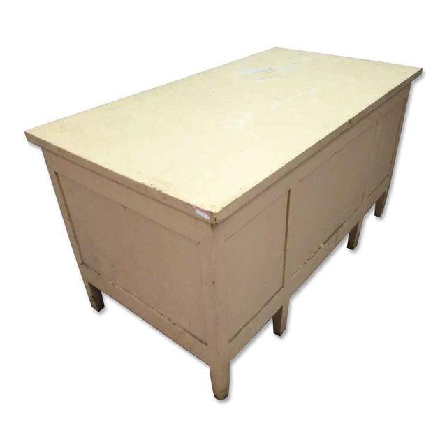 Vintage Six Drawer Oak Wood Desk For Sale - Image 5 of 8