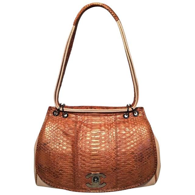 Chanel Beige Canvas and Tan Copper Snakeskin Flap Shoulder Bag For Sale