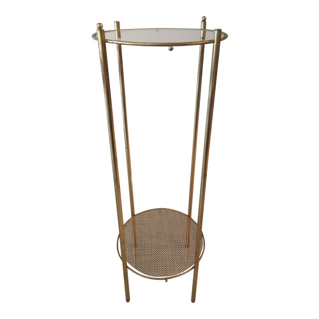 Brass & Glass 2 Tier Plant Stand - Image 1 of 3