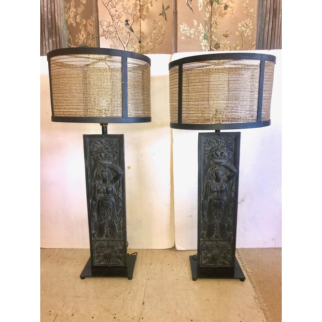 Late 19th Century Antique Iron Table Lamps - A Pair For Sale - Image 13 of 13