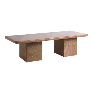 Vintage Italian Rosso Verona Marble Coffee Table For Sale