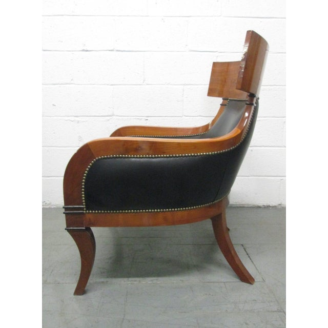 Leather Biedermeier Style Lounge Chair For Sale - Image 4 of 9