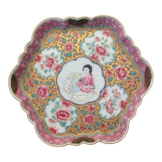 Antique Chinese Enamel on Porcelain Serving Tray For Sale