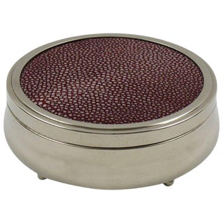French Art Deco Covered Round Box Chrome and Red Shagreen For Sale