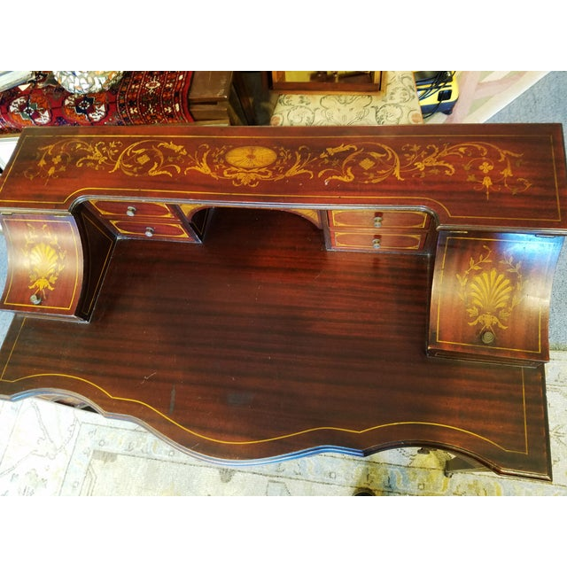 1900 - 1909 Edwardian Style Mahogany & Satinwood Ladies Desk For Sale - Image 5 of 10
