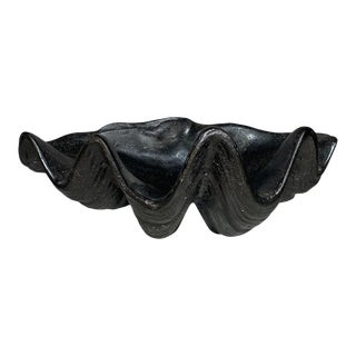 1980s Black Lacquer Clamshell Decorative Bowl For Sale