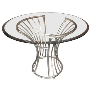 Vintage Mid-Century Arthur Umanoff Steel and Glass Table for Shaver Howard For Sale