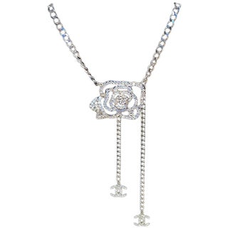 Chanel Silver Chain Rhinestone Camellia Flower Belt Necklace For Sale