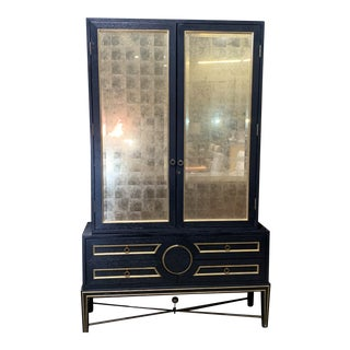 1970s Global Views Gold & Black Mirrored Display Cabinet For Sale