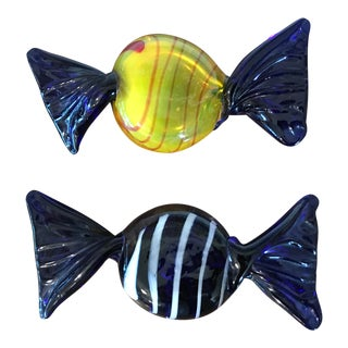 1970s Holiday Vintage Glass Candy Pieces - a Pair For Sale