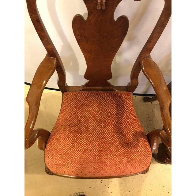 Set of Ten Queen Anne Style Dining Chairs, Pair of Arm and Eight Side Chairs For Sale - Image 9 of 11