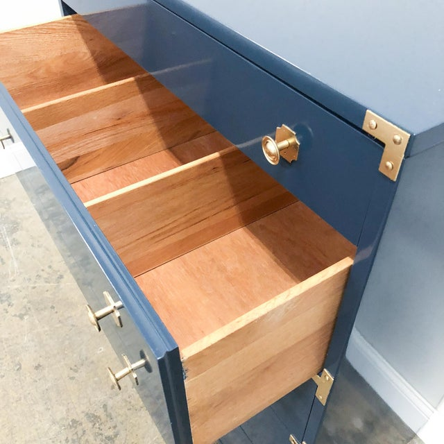 Gold Drexel Campaign Navy High Gloss Lacquer Oak Highboy Chest For Sale - Image 7 of 9