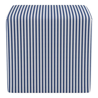 Cube Ottoman in Navy Fairfield Stripe For Sale