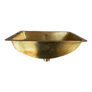Antique Style Solid Brass Hammered Sink Bowl For Sale