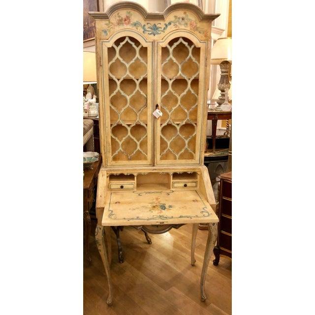 Antique Italian Paint Decorated Secretary Desk For Sale - Image 4 of 9