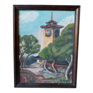 1950s Spanish Colonial Scene Oil Painting by Elsie Graham, Framed For Sale