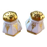 Image of Art Deco Salt and Pepper Shakers in Gilt Porcelain - a Pair For Sale