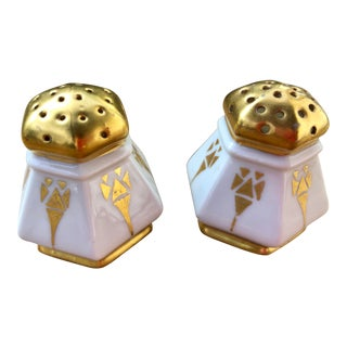 Art Deco Salt and Pepper Shakers in Gilt Porcelain - a Pair For Sale