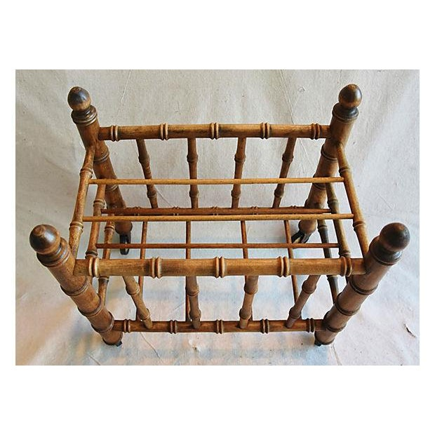 1920s Carved Wooden Bamboo-Style Magazine Rack Holder - Image 7 of 11