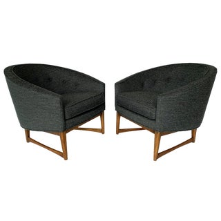 Pair Lawrence Peabody Barrel Back Horseshoe Shaped Lounge Chairs For Sale
