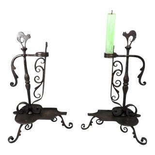 Antique Germany Arts & Crafts Wrought Iron Candle Holders For Sale