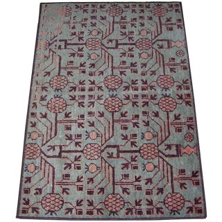 "1900s Antique Decorative Samarkand Rug-3'8"" X 2'6"" For Sale"