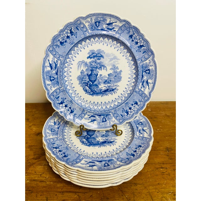 Ceramic Early 19th Century Staffordshire Blue and White Plates - Set of 8 For Sale - Image 7 of 7