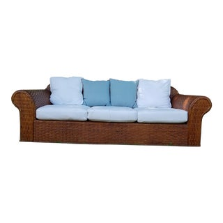 Late 20th Century Henry Link Wicker Couch For Sale
