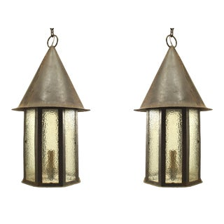 American Mission Painted Iron and Glass Lanterns - a Pair For Sale