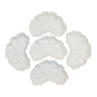 Spode White Cabbage Leaf Crescent Salad Plates - Set of 5 For Sale