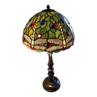 Tiffany Look-Alike Glass Table Lamp For Sale