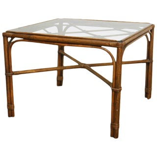 Organic Modern Bamboo Rattan Coffee Table by Brown Jordan
