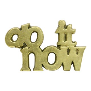 Do It Now Brass Paperweight