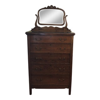 1920s Americana Tall Dresser With Mirror