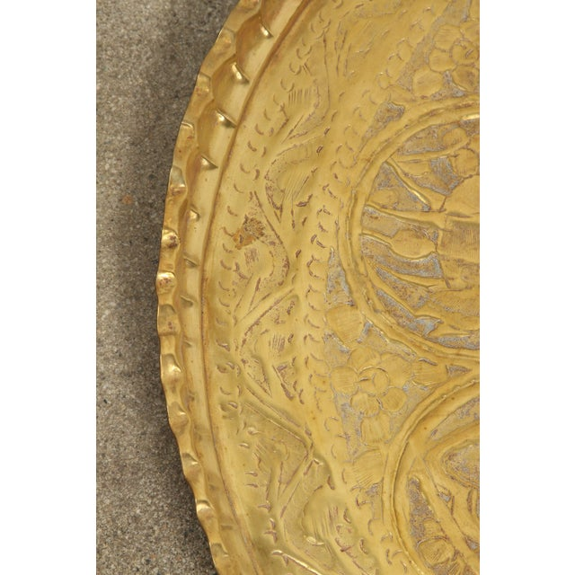 Figurative Large Hand-Crafted Decorative Persian Hammered Brass Tray For Sale - Image 3 of 10