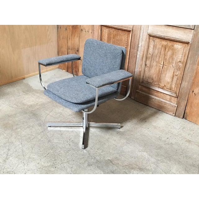 Mid-Century Modern Fortress Blue Upholstered Chrome Swivel Desk Chair - Image 3 of 10