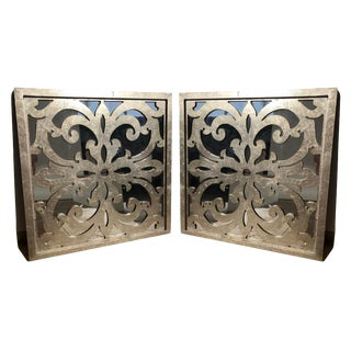 Modern Framed Decorative Scroll Wall Mirror - a Pair For Sale