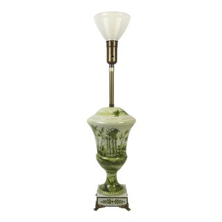 Hand Painted Marlboro Ceramic & Brass Table Lamp For Sale