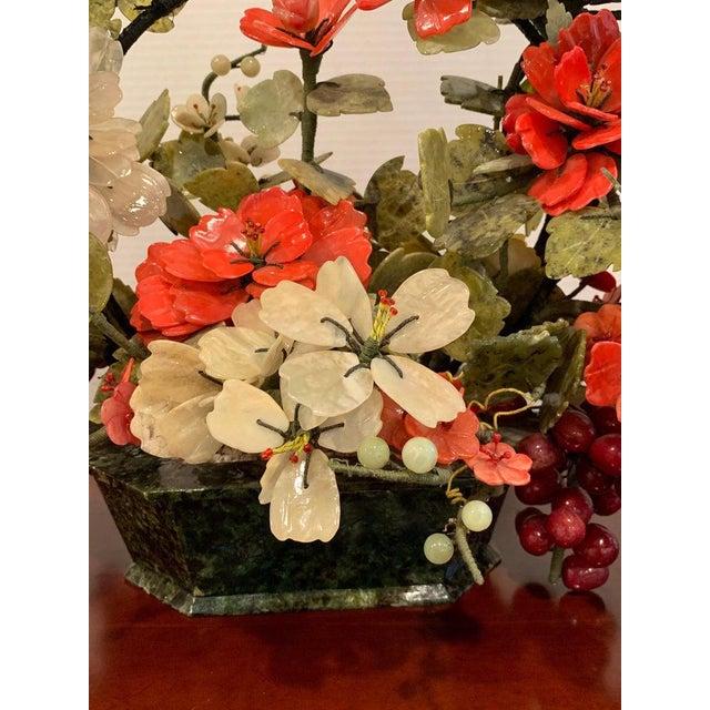Vintage Chinese Export Hardstone Basket Floral Arrangement For Sale - Image 9 of 13